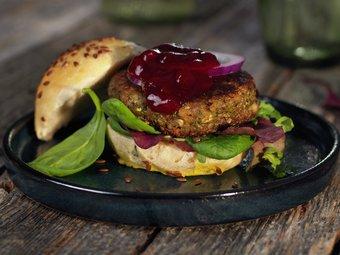 Squash- og kikertburger