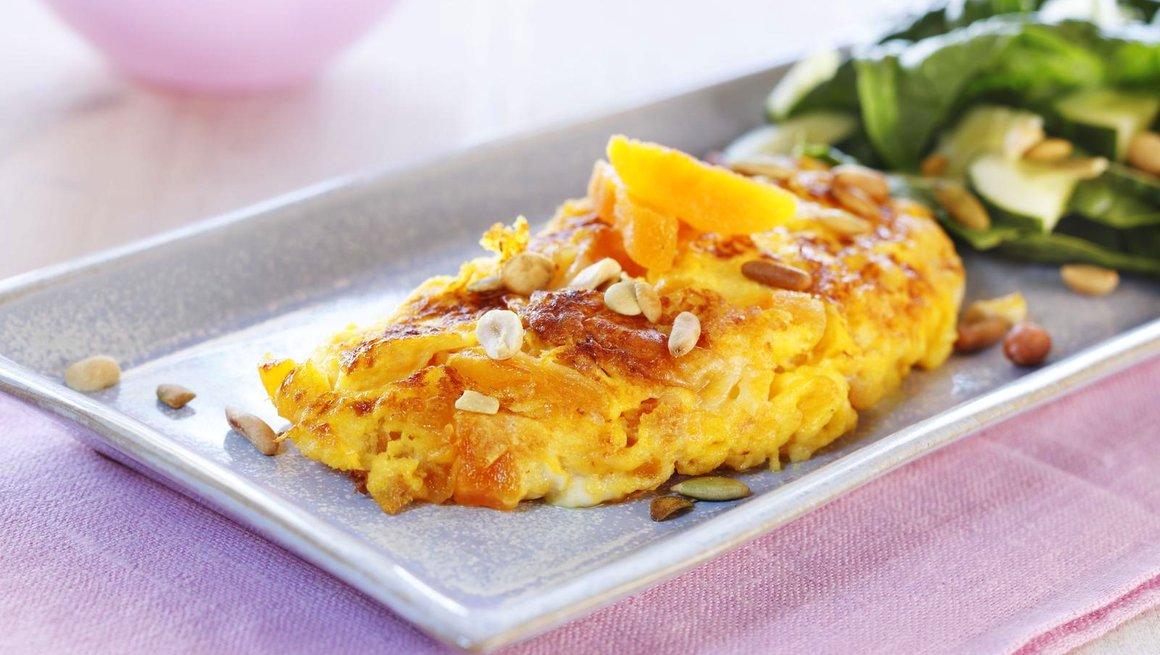 Omelett med aprikos og chevre